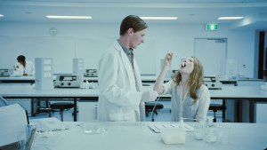 Jamie Timony and Emily Browning in the lab in 'Sleeping Beauty'.