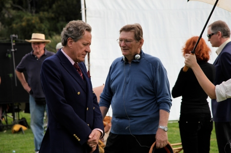 Geoffrey Rush and Fred Schepisi on set of The Eye Of The Storm