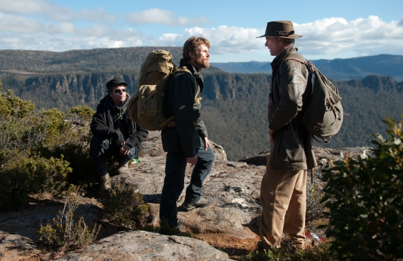 L-R: Daniel Nettheim, Willem Dafoe, Sam Neill - on location for The Hunter