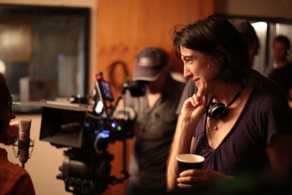 Jessica Hobs on set