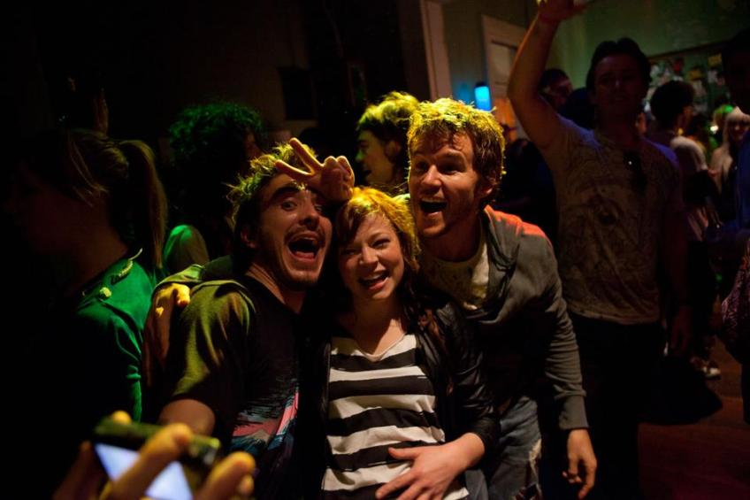 Party animals: Ryan Corr, Sarah Snook and Ryan Kwanten in NOT SUITABLE FOR CHILDREN.
